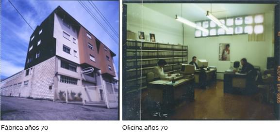 Fábrica y oficina en los años 70.